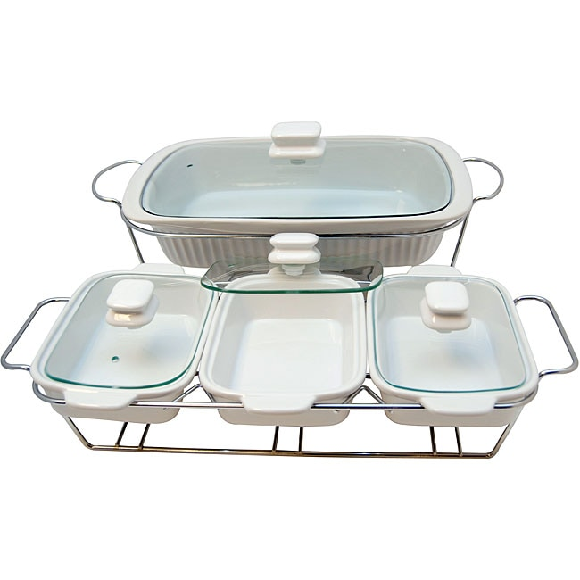 Le Chef White Ceramic Bakeware Serving Tray Set