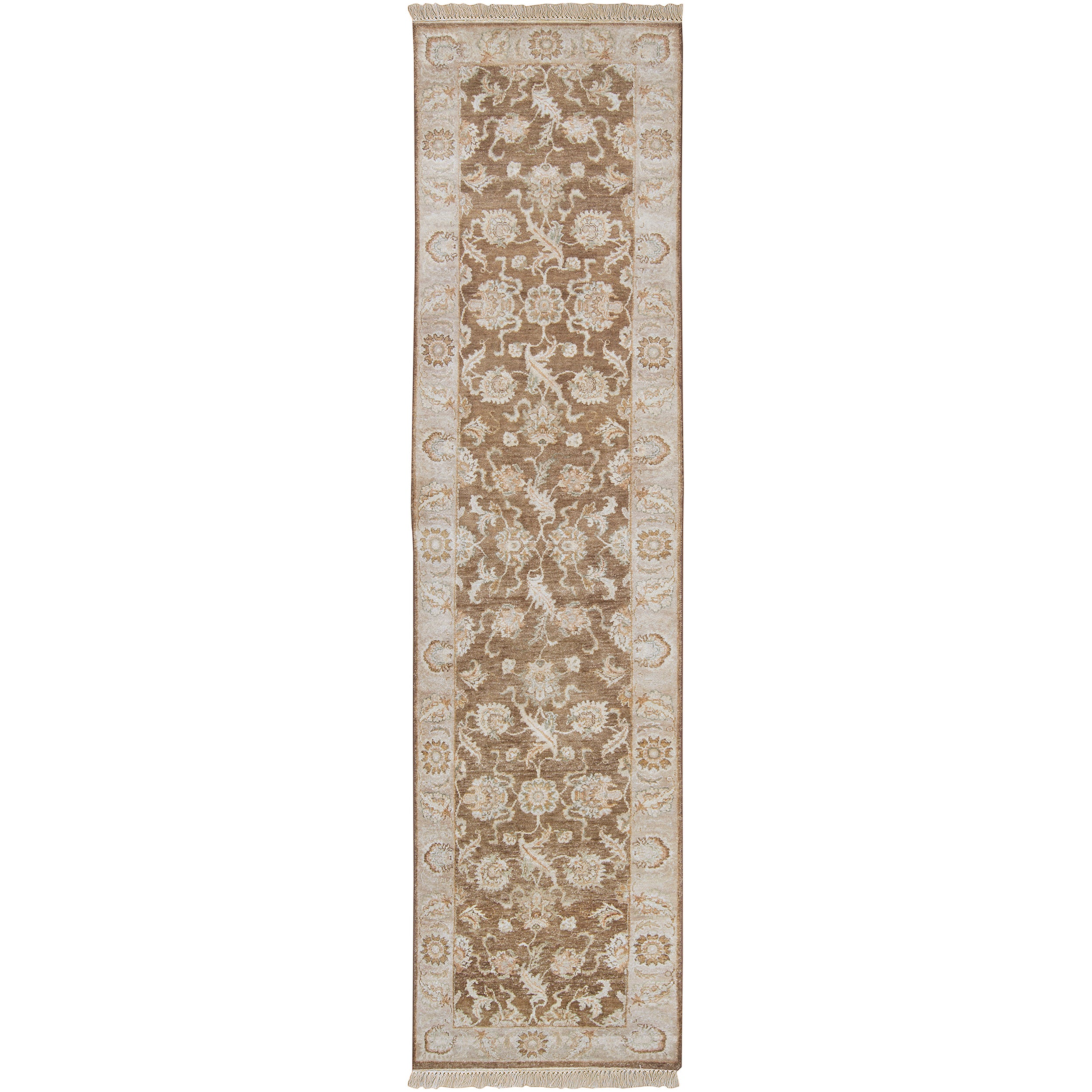 Hand-knotted Brown Main Ave New Zealand Wool Rug (2'6 x 10')