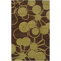 Jef Designs Hand-tufted Brown Torrent Geometric Wool Rug (3'6 x 5'6)