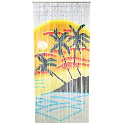 Hand-crafted Orange and Blue Palm Bamboo Indoor Curtain (Vietnam)