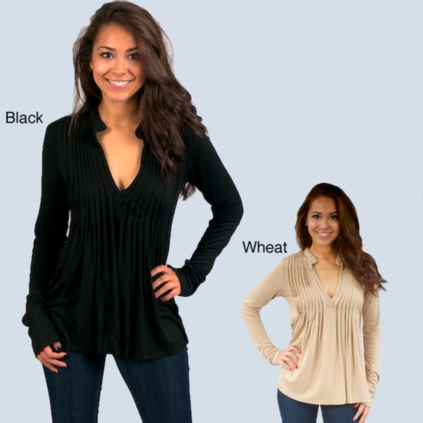 Think Knit Fashionable V-neck Pleated-front Tunic