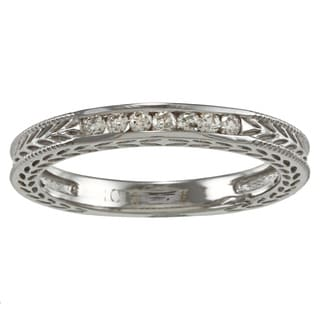 10k Gold 1/8ct TDW Diamond Filigree Wedding Band (K-L, I2-I3)