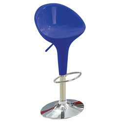Sybill Adjustable Blue Chrome Finish Air Lift Stools (Set of 2)