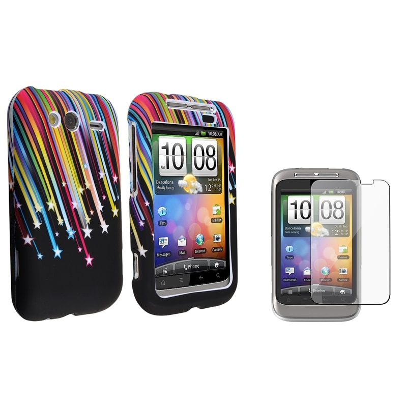Black Rainbow Star Case/ Screen Protector for HTC Wildfire S