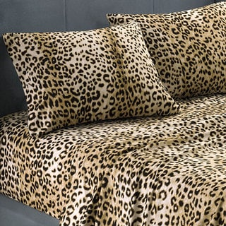 Premier Comfort Cozy*Spun All Seasons Queen-size Textured Cheetah Sheet Set