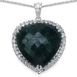 Malaika Sterling Silver Emerald and White Topaz Pendant