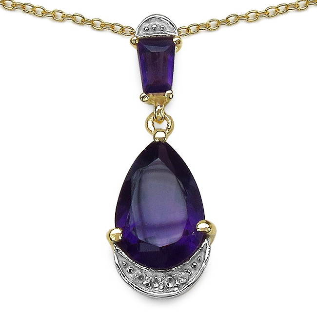 Malaika Amethyst and White Topaz Yellow Gold Overlay Pendant