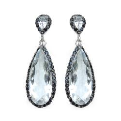 Malaika Sterling Silver Crystal Quartz and Black Spinel Earrings