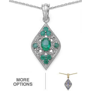 Malaika Sterling Silver Tanzanite or Emerald/ White Topaz Pendant