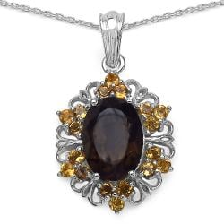 Malaika Sterling Silver Smoky Topaz and Citrine Pendant
