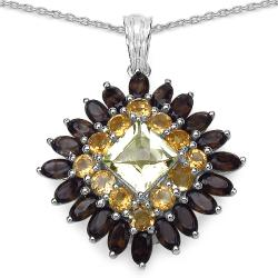 Malaika Sterling Silver Lemon Topaz and Citrine Pendant
