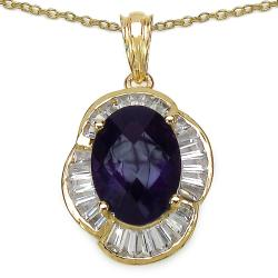 Malaika Sterling Silver Gold Overlay Amethyst and White Topaz Pendant
