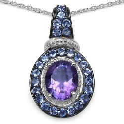 Malaika Sterling Silver Amethyst and Tanzanite Pendant