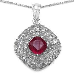 Malaika Sterling Silver Ruby and White Topaz Pendant