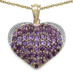 Malaika Yellow Gold Overlay Sterling Silver Amethyst Heart Pendant