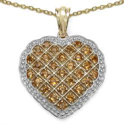Malaika Yellow Gold over Silver Citrine Heart Pendant