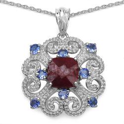Malaika Sterling Silver Ruby and Tanzanite Pendant