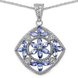 Malaika Sterling Silver Tanzanite and White Topaz Pendant