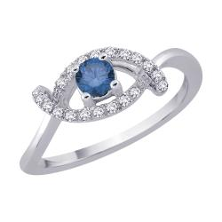 14K White Gold 1/3ct TDW Blue and White Diamond Ring (G-H, I1)
