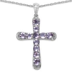 Malaika Sterling Silver Amethyst Cross Pendant