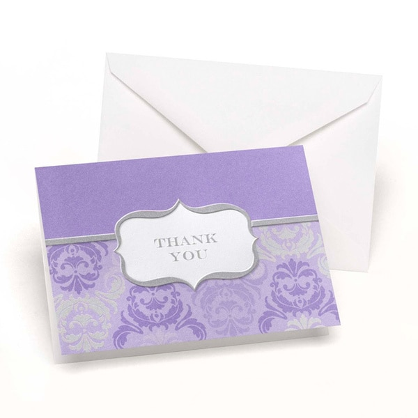 Hortense B. Hewitt Grey and Orchid Damask and Crest Thank You