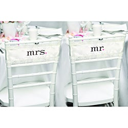 HBH Embroidered Ivory Satin and Lace Chair Sashes
