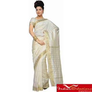Cream Sari / Saree Fabric with Golden Border (India)