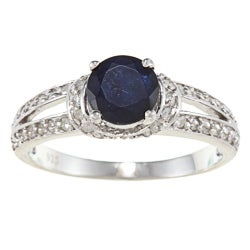 Viducci Sterling Silver Sapphire and 2/5ct TDW Diamond Ring (G-H, I1-I2)