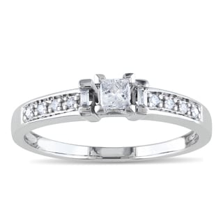 Miadora 10k White Gold 1/4ct TDW Princess-cut Diamond Ring (H-I, I2-I3)