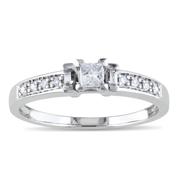 Miadora 10k White Gold 1/4ct TDW Princess-cut Diamond Ring (H-I, I2-I3)