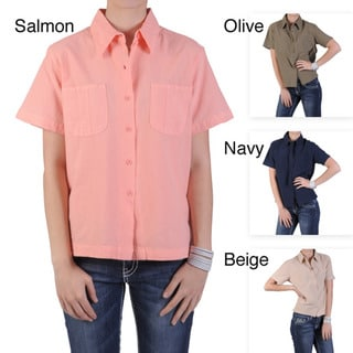 Tressa Designs Women's Point-Collar Button-Up Unlined Camp Shirt