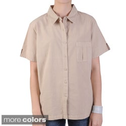 Tressa Designs Women's Point Collar Button-up Camp Shirt