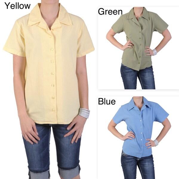 Tressa Designs Women's Notch Collar Button-up Camp Shirt