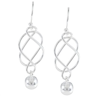 La Preciosa Sterling Silver Infinity Hanging Bead Earrings