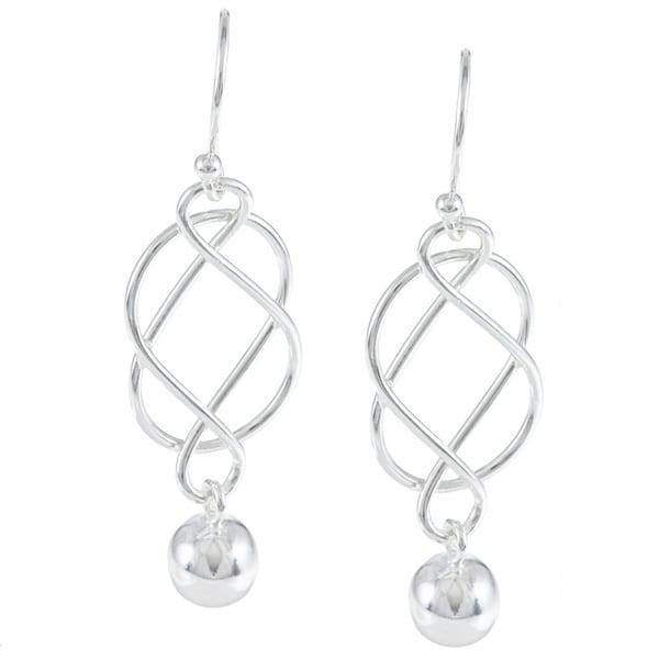 La Preciosa Sterling Silver Infinity Hanging Bead Earrings
