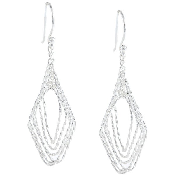 La Preciosa Sterling Silver Open Twisted Marquise Earrings
