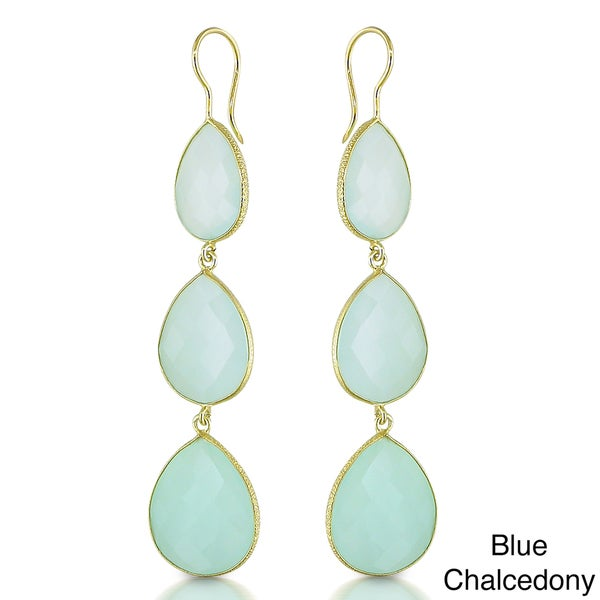 Miadora 22k Goldplated Silver 60ct TGW Turquoise or Chalcedony Earrings