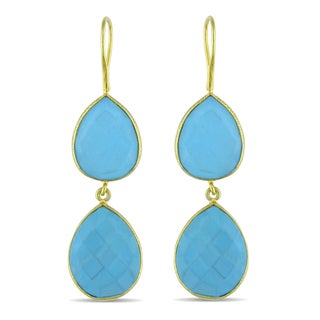 Miadora 22k Yellow Gold Plated Silver 32ct TGW Turquoise Dangle Earrings