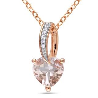Miadora Pink Rhodium Plated Silver 1ct TGW Morganite and Diamond Accent Pendant