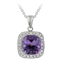 Glitzy Rocks 10k White Gold Diamond and Amethyst Square Necklace