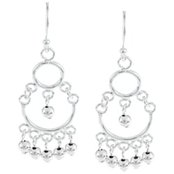 La Preciosa Sterling Silver Multi-sized Circles with Beads Dangling Earrings