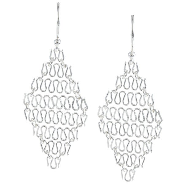 La Preciosa Sterling Silver Chain Link Diamond Shaped Wire Earrings