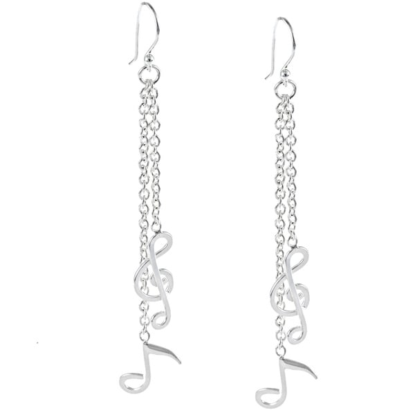 La Preciosa Sterling Silver Dangling Musical Note Earrings