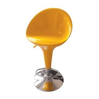 Sybill Adjustable Air Lift Yellow/ Chrome Stool (Set of 2)