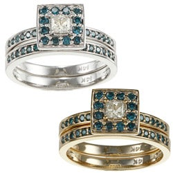 Auriya 14k Gold 2/3ct TDW Princess Blue and White Diamond Bridal Ring Set (H-I, I1-I2)