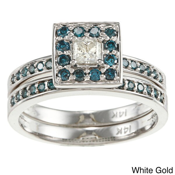 Auriya 14k Gold 2/3ct TDW Princess Blue and White Diamond Bridal Ring Set (H-I, I1-I2)