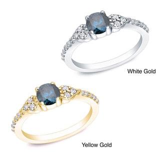 Auriya 14k Gold 2/3ct TDW Round Blue and White Diamond Ring (G-H, I1-I2)