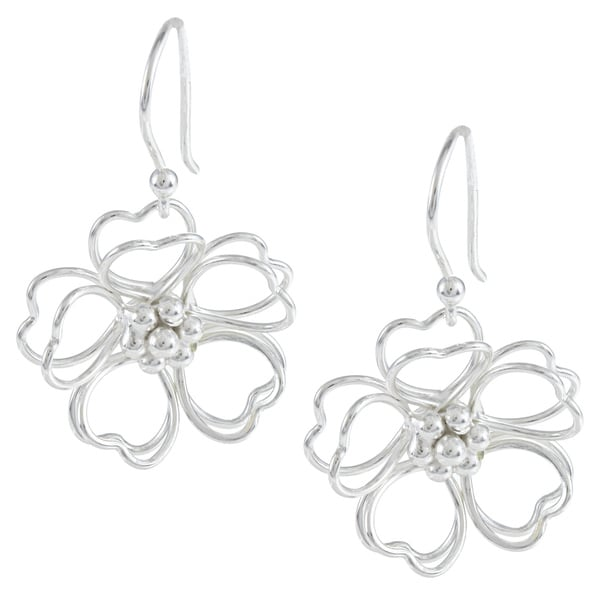 La Preciosa Sterling Silver Double Heart Petal Open Wire Flower Earrings