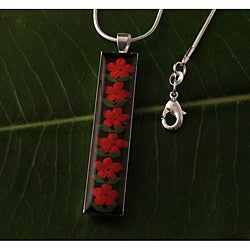 Red Flowers Cylindrical Pendant (Mexico)