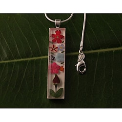 Roses and Forgetmenots Flowers Bouquet Cylindrical Necklace (Mexico)